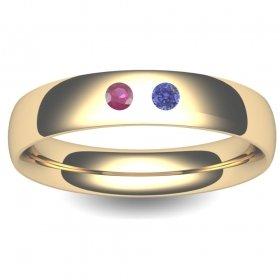 Birthstone Wedding Ring Court 3-8mm (TBTCH18Y) 18ct Yellow Gold