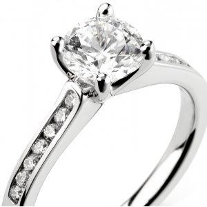 Platinum Diamond Rings with Shoulder Stones