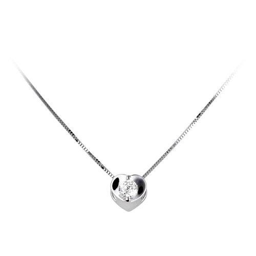 18carat White Gold Diamond Heart Pendant