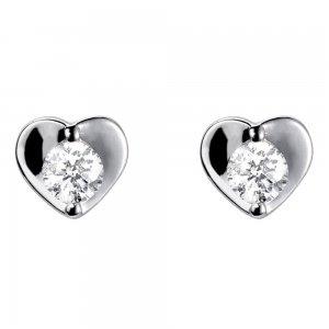 18carat White Gold Diamond Heart Earrings