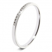9ct White 0.10ct Brilliant Diamond Eternity Ring - 1.8mm Band - Fast Delivery