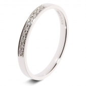 9ct White 0.10ct Brilliant HSI Diamond Eternity Ring - 2mm Band - Grain Set