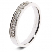 9ct White 0.50ct Brilliant HSI Diamond Eternity Ring - 3.3mm Band - Grain Set