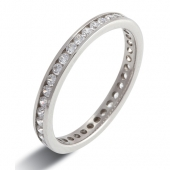 9ct White Gold 0.60ct Brilliant HSI Diamond Full Eternity  - 2.5mm Band - Fast Delivery