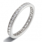 9ct White Gold 0.75ct Brilliant HSI Diamond Full Eternity Ring -2.5mm Band - Fast Delivery