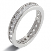 9ct White Gold 1.5ct Brilliant HSI Diamond Full Eternity  - 3.6mm Band - Fast Delivery