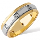 18ct White with Yellow Gold Flat Diamond Wedding Ring Width 6mm