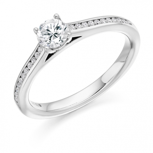 Engagement Ring with Shoulder Stones  - (TBCENG3219) - Certificated