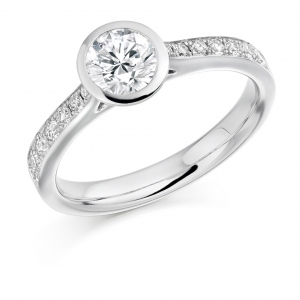 Engagement Ring with Shoulder Stones  - (TBCENG3338) - Certificated