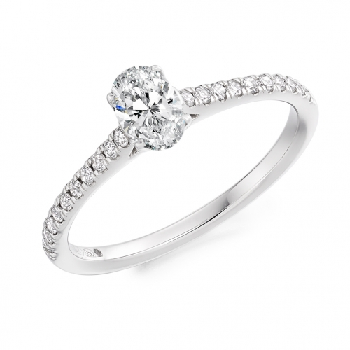Engagement Ring with Shoulder Stones  - (TBCENG5487) - Certificated