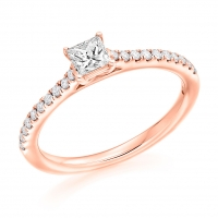 Engagement Ring with Shoulder Stones  - (TBCENG6951) - Certificated