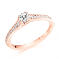Engagement Ring with Shoulder Stones  - (TBCENG7209) - Certificated