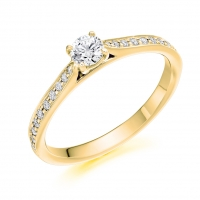 Engagement Ring with Shoulder Stones  - (TBCENG5728) - Certificated