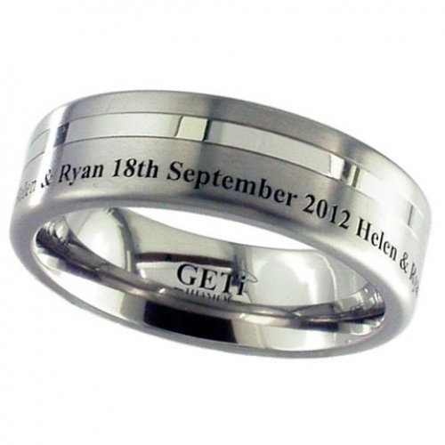 Lasered Date (2208GP-Eng) Titanium Wedding Ring