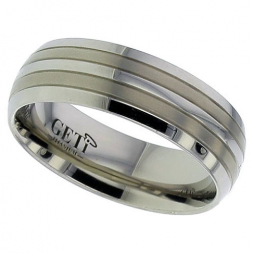 Patterned Titanium Wedding Ring (2219-GP)