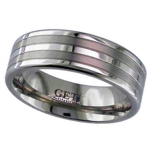 Patterned Titanium Wedding Ring (2220-GP)