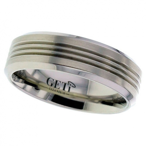 Patterned Titanium Wedding Ring (2260)
