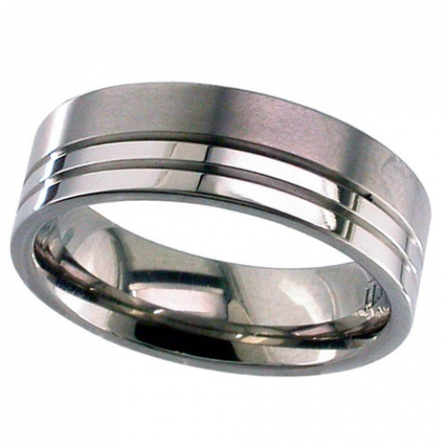 Patterned Titanium Wedding Ring (T135)