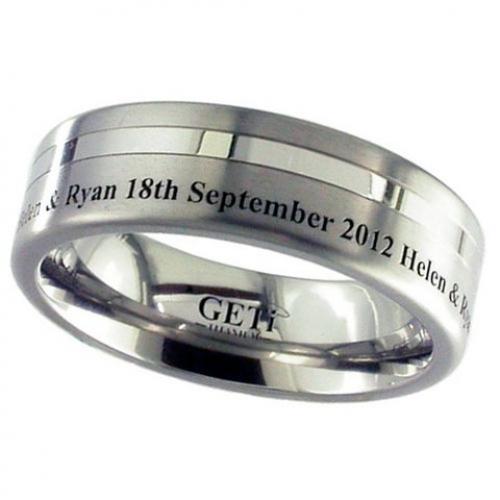 Lasered Date (2208GP-Eng) Titanium Wedding Ring