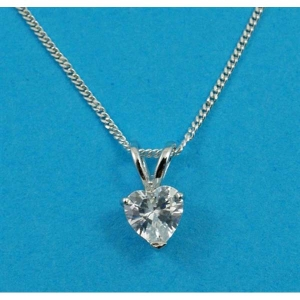 Free Gift Silver Pendant with a Heart CZ Stone