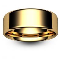 Flat Court Very Heavy -  8mm (FCH8-Y) Yellow Gold Wedding Ring