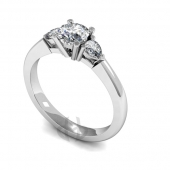 Platinum Diamond Engagement Ring Trilogy Round and Pear Stones D Shape Band