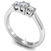 Platinum Diamond Engagement Ring Trilogy Claw Setting D Shape Band