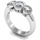 Platinum Diamond Engagement Ring Trilogy Rubover Setting D Shape Band