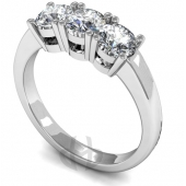 Platinum Diamond Engagement Ring Trilogy 3 Same Size Stones - D Shape Ring