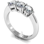 Platinum Diamond Engagement Ring 3 Same Size Stones, D-Shape Band - Trilogy Fast Delivery