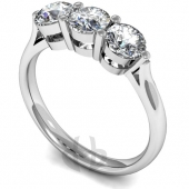 Platinum Diamond Engagement Ring Trilogy 3 Same Size Stones Claw Setting D Shape Band