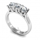 Platinum Diamond Engagement Ring Trilogy 3 Same Size Stones U Claw Setting D Shape Band