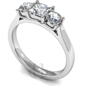 Platinum Diamond Engagement Ring Trilogy Princess with Round Stones Court Band