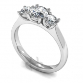 Platinum Diamond Engagement Ring Trilogy Claw Setting Court Band