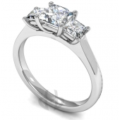 Platinum Diamond Engagement Ring Princess Trilogy Claw Setting