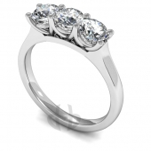 Platinum Diamond Engagement Ring Trilogy 3 Same Size Stones Claw Setting Court Band