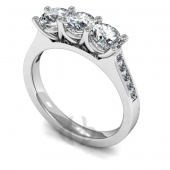 Platinum Diamond Engagement Ring Trilogy with Shoulder Stones Slight Court Band