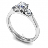 Platinum Diamond Engagement Ring Trilogy Round and Pear Stones Court Band