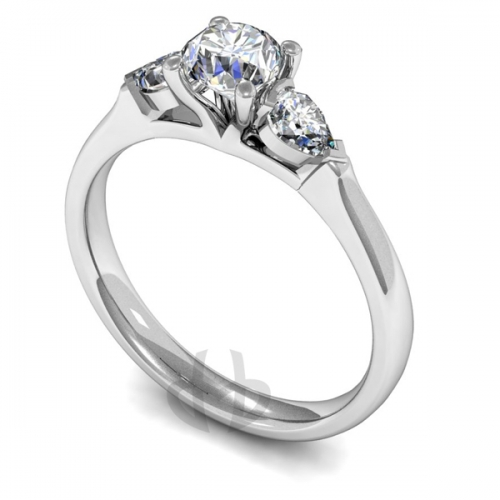 Diamond Trilogy Engagement Ring - All Metals