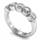 Platinum HSI Diamond Engagement or Eternity Ring with Five Stones