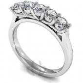Platinum HSI Diamond Engagement or Eternity Ring with 5 Stones, Round Shaped Claws