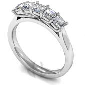 Platinum HSI Diamond Engagement or Eternity Ring with Five Stones, Tapered Shoulder