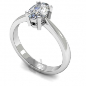 18 carat White Gold Diamond Engagement Ring  Oval Cut Solitaire - D Shaped Band