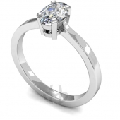 18 carat White Gold Diamond Engagement Ring Oval Cut Solitaire - Flat Shaped Band