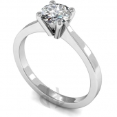 9 carat White Gold Diamond Engagement Ring  Brilliant Cut Solitaire - Flat Shaped Band