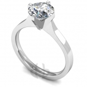 9 carat White Gold Diamond Engagement Ring  Brilliant Cut Solitaire - Flat Court Shaped Band