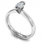 18 carat White Gold Diamond Engagement Ring Marquise Cut Solitaire - Court Shaped Band