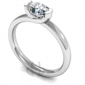9 carat White Gold Diamond Engagement Ring Oval Cut Solitaire - Court Shaped Band