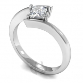 9ct White Gold Diamond Engagement Ring Princess Cut Solitaire - D Shaped Band