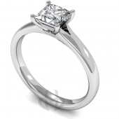 9ct White Gold Diamond Engagement Ring Princess Cut Solitaire Court Shaped Band